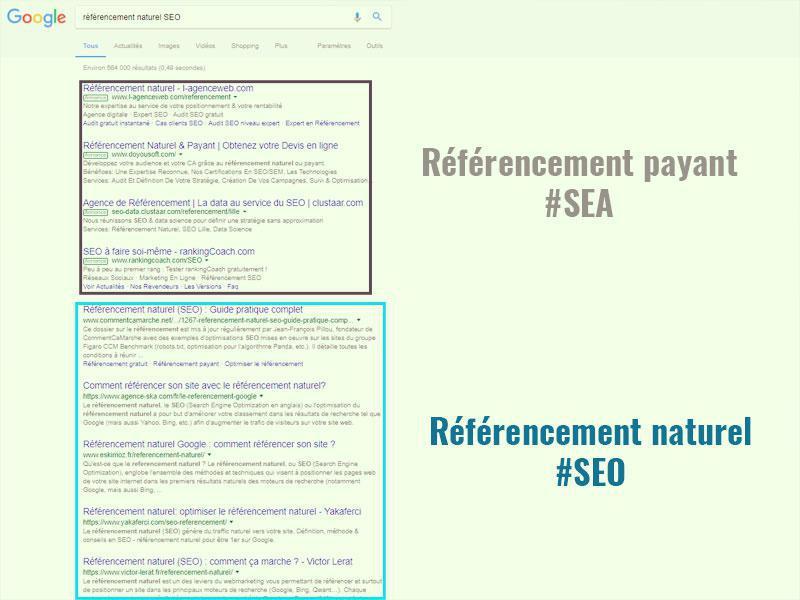 Résultats de recherche sur le moteur Google (SEO et SEA)