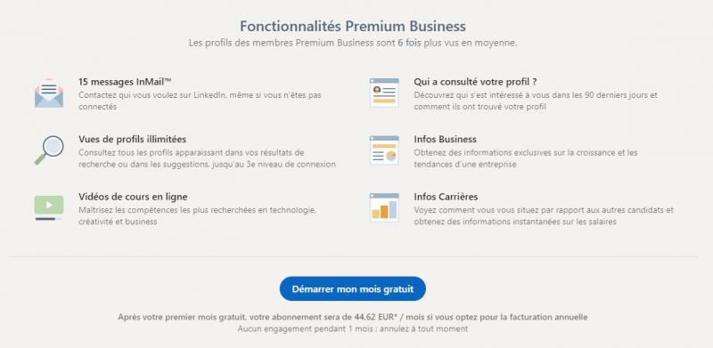 Fonctionnalités de LinkedIn Premium Business