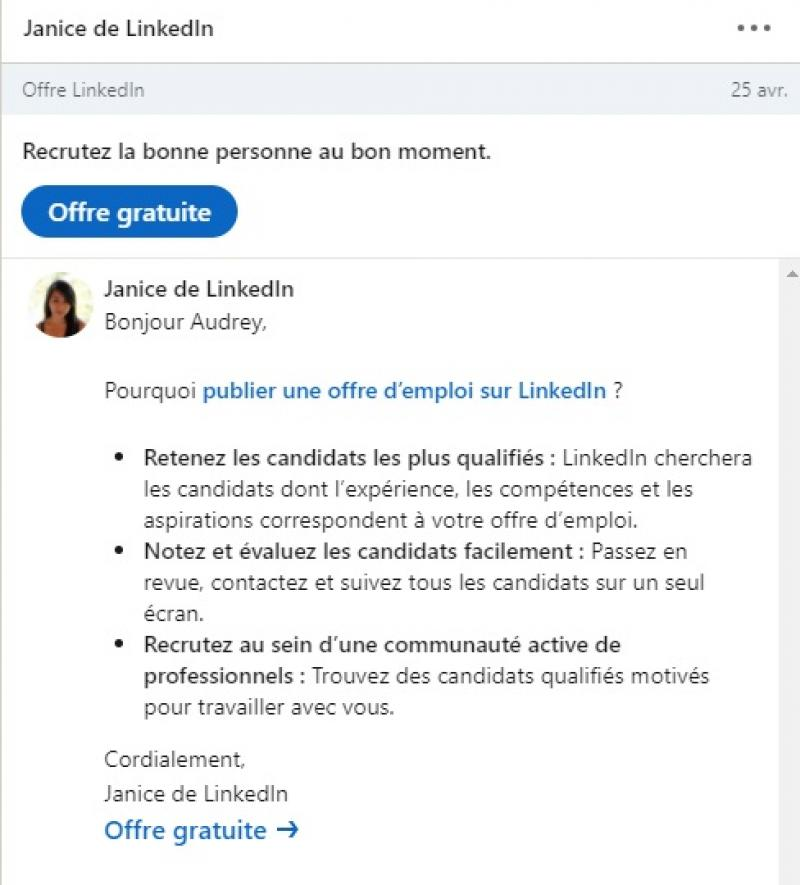 InMails LinkedIn pour les offres d'emploi