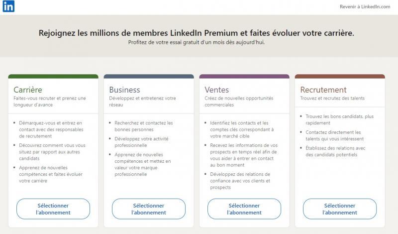 Les 4 abonnements LinkedIn Premium