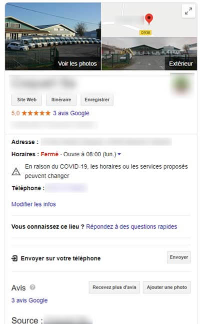 Fiche établisemment Google My Business