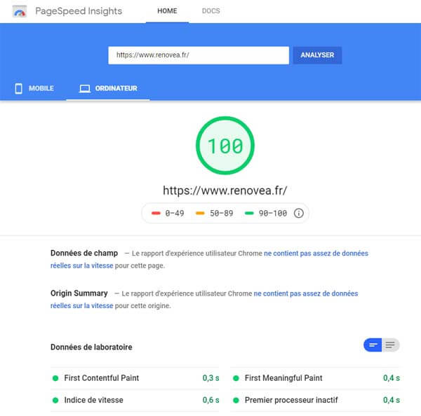 Google Page Speed Insight mesure les performances d'un site selon les recommandations de Google