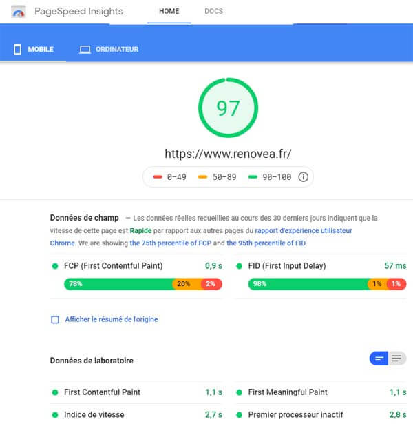 Google Page Speed Insight mesure les performances d'un site sur Mobile selon les recommandations de Google
